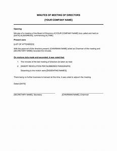 minutes of meeting of directors template sample form With minute of meeting template doc