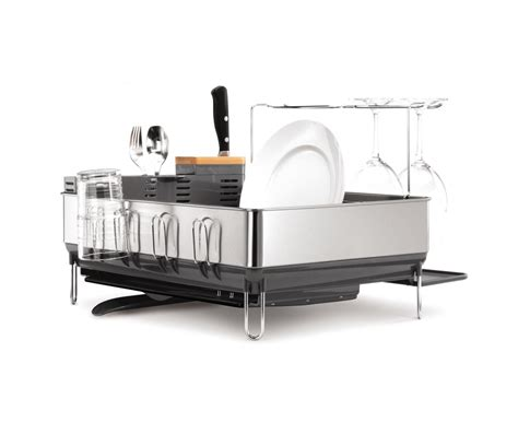 simplehuman dish rack simplehuman grey steel frame dishrack w wine glass holders