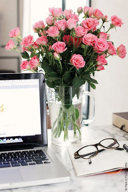 Office Desk Flowers by Weekend Reading Pink Roses Desks And