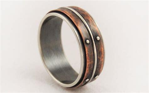 unique mens wedding ring men engagement ringsilver copper