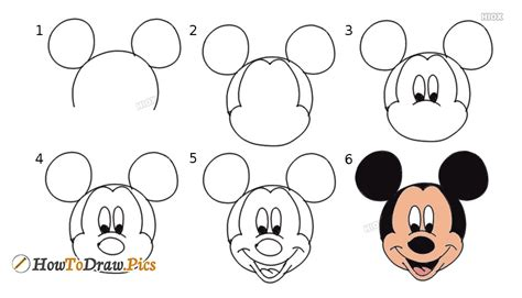 draw mickey mouse face  howtodrawpics