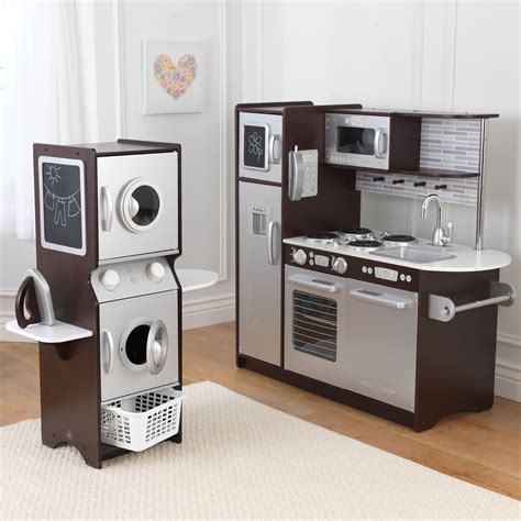 kitchen play sets kidkraft espresso uptown play kitchen and laundry playset