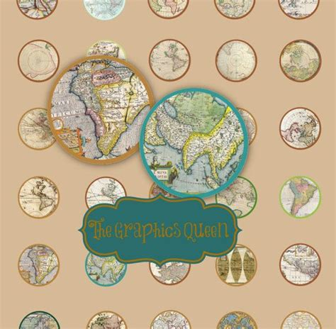 instant    circle antique map digital