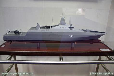 model of lurssen multirole light frigate 105 displayed at