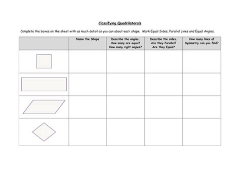 Classifying Quadrilaterals By Ceejaypee  Teaching Resources Tes