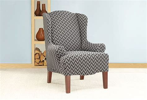 burke slipper chair cover photo of stretch chevron wing chair slipcover for the