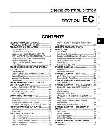 on board diagnostic system 1997 nissan sentra seat position control 2001 nissan altima emission control system section ec pdf manual 476 pages