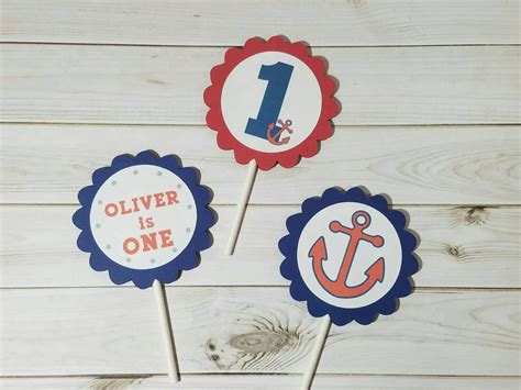 Nautical Party Cupcake Topper, Ahoy Little Sailor, Sailor