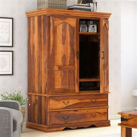 Wood Armoire by Shelburne Rustic Solid Wood Large Tv Armoire Cabinet With