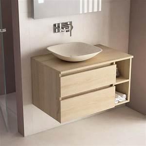 Meuble Tiroir Salle De Bain : meuble salle de bain ch ne 80 cm 2 tiroirs terra ~ Edinachiropracticcenter.com Idées de Décoration