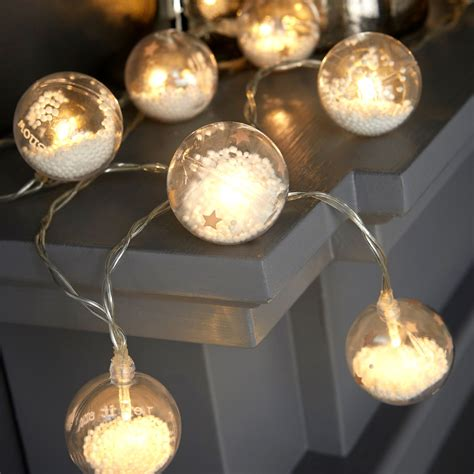battery operated globe string lights battery operated 16 warm white led clear snow globe effect