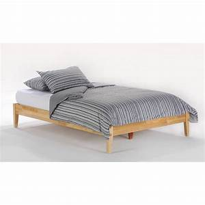 basic platform bed frame in natural wood finish With basic queen mattress