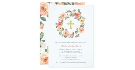 Pretty Peach Floral Wreath with Cross Baptism Invitation