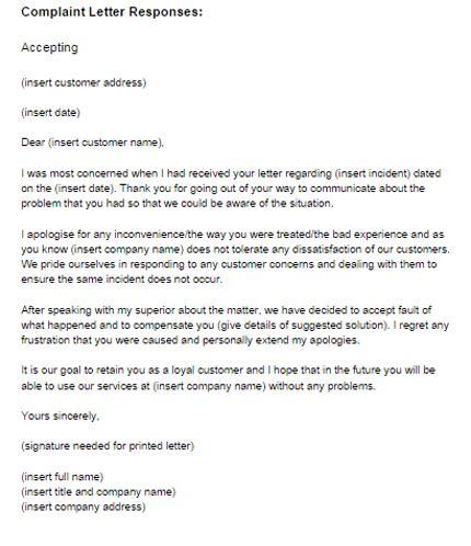 complaint letter response  accepting  letter