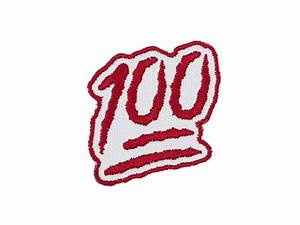100 Points One Hundred Emoji Embroidered Iron On Patch FREE