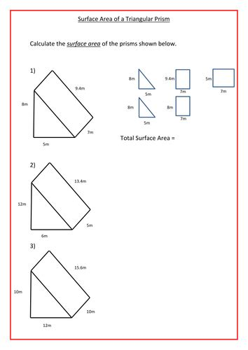 surface area of a triangular prism worksheet surface area of triangular prisms by ra77 uk teaching