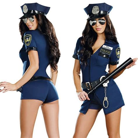 Sexy Police Officer Costume Uniform Halloween Adult Sex Cop Cosplay Slim Dress For Women In