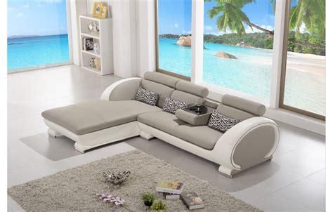 canape d angle blanc et gris canapé d 39 angle moderne en cuir elios gris et blanc