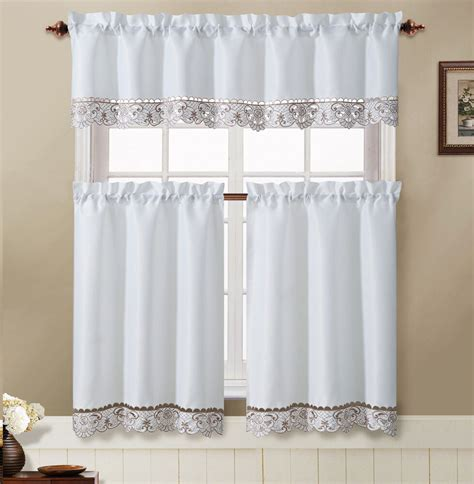 julian white taupe embroidered kitchen curtain tiers