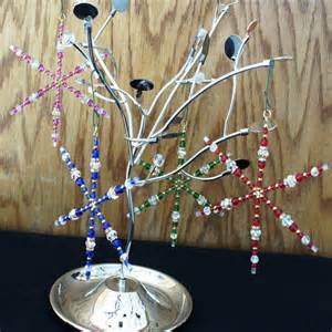 beaded large tree ornaments in silver brbeads accessories on artfire