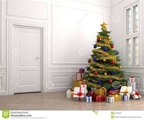 christmas tree in classic room royalty free stock photo