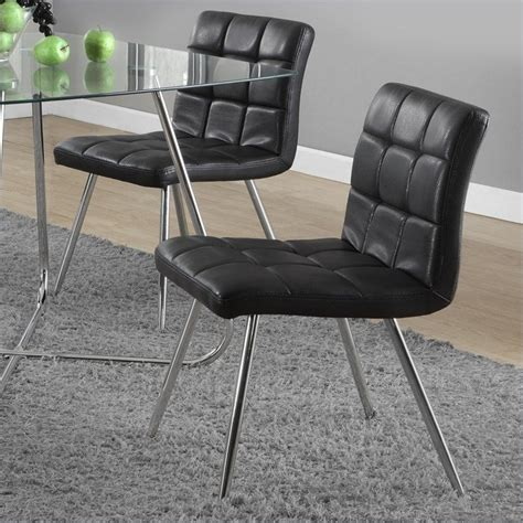 dining chair in black and chrome set of 2 i 1073
