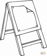 Easel Coloring Class Pages Colouring Drawing Stool Printable Template Clipart Clip sketch template