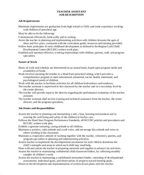 12 descriptions free sample example 112 | Teacher Assistant Job Description Sample