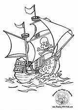 Ship Coloring Pages Sunken Pirate Printable Getcolorings sketch template