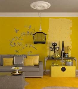 Graue Farbe Wand : die gelbe farbe f r die wand dient als hintergrund f r die grauen m bel farbige ~ Sanjose-hotels-ca.com Haus und Dekorationen