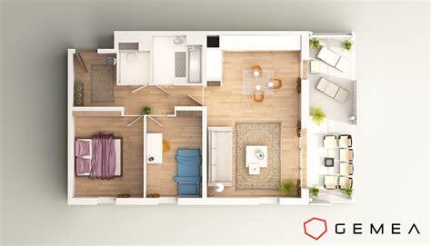 appartement 3 chambres perspective 3d intérieure réalistes