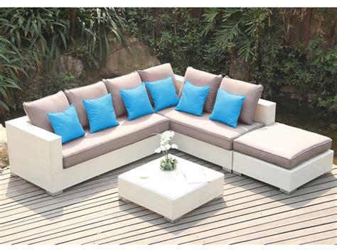 salon de jardin azurea en r 233 sine tress 233 e blanche avec canap 233 d angle 4 places salon de jardin