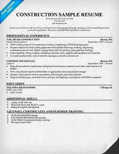 Resume Sample  Construction