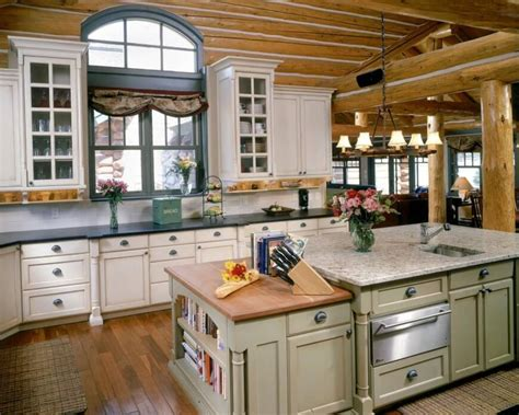 cabin kitchen design log cabin kitchens with white cabinets alinea designs 1905