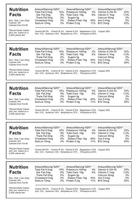 nutrition facts label maker   food label template