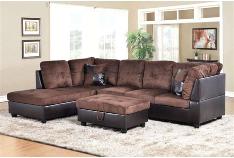 hton leather reversible sectional and storage ottoman f107a dark brown microfiber faux leather sectional set