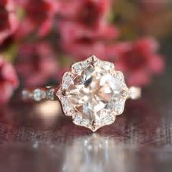 vintage floral engagement rings 14k gold vintage floral morganite engagement ring scalloped wedding band 8x8mm