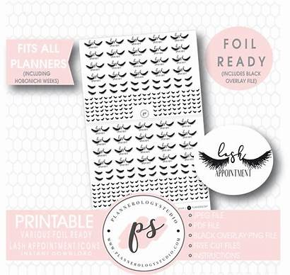 Appointment Lash Stickers Planner Printable Icon Foil