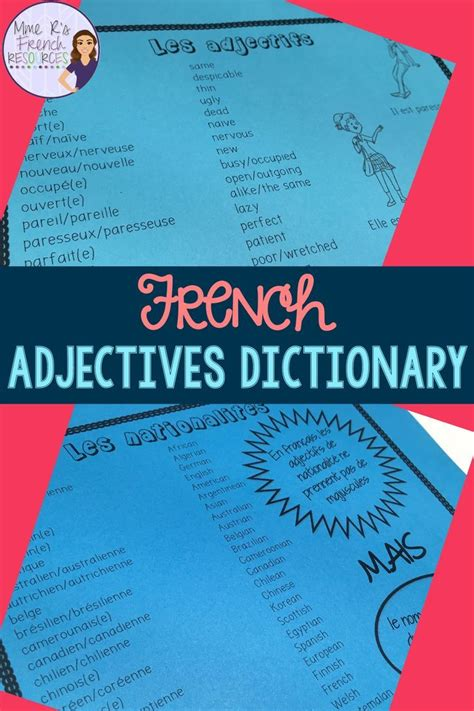 Over 200 common French adjectives in an easy-to-use ...