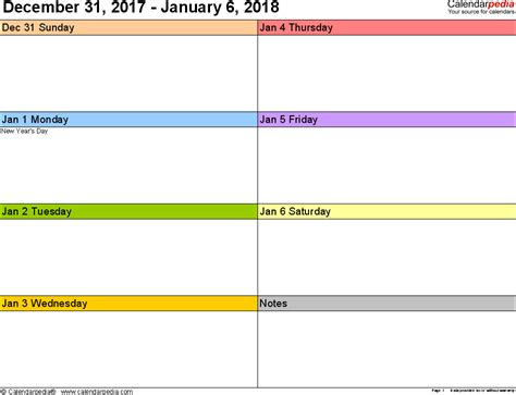 weekly calendar word printable templates