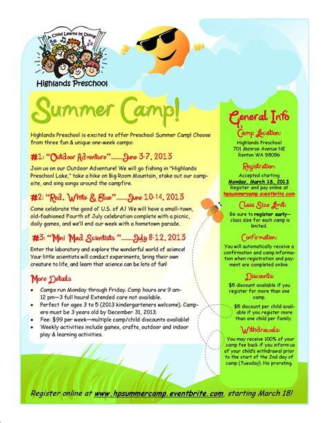 highlands preschool summer camps 2013 registration renton 859 | 2013summercamp2