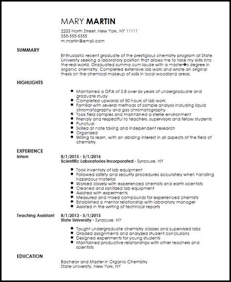 Chemist Resume by Free Entry Level Chemist Resume Template Resumenow