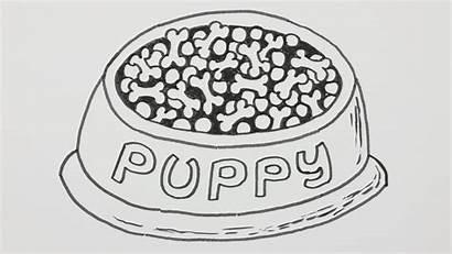 Dog Sketch Kennel Bowl Cartoon Dish Bowls