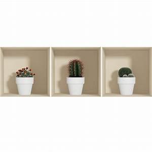 sticker effet 3d cactus en pot blanc stickers nature With chambre bébé design avec pot de fleur fin et long