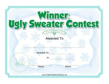 printable ugly sweater certificate no download 1000 images about on reindeer noses and gift