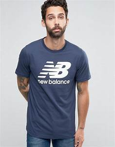 new balance mt63554 nv t shirt avec logo classique bleu new balance pas chere new balance