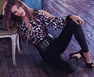 Model leopard print jeggings leggings pants belt high heels black heels animal print ...