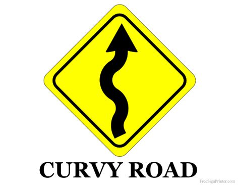 printable curvy road sign