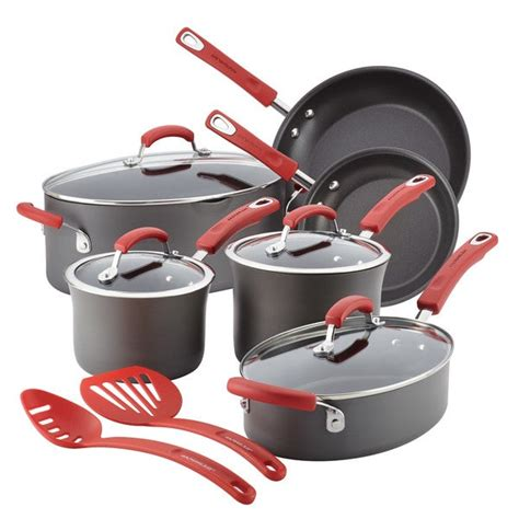 shop rachael ray hard anodized nonstick  piece cookware set  shipping today overstock