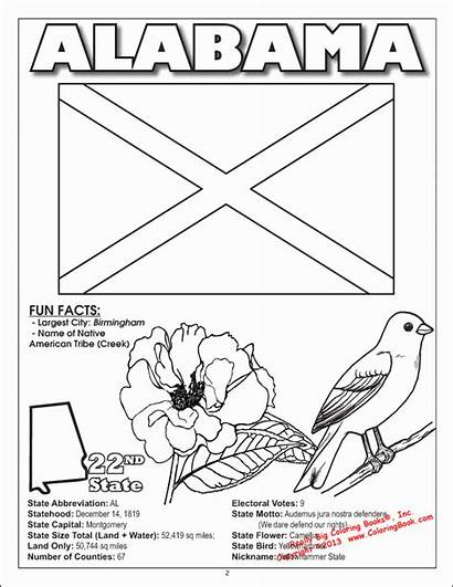 Alabama Coloring Pages State States United Flower